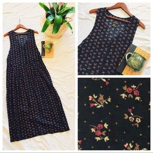 Vintage Floral Pleated Button Front Dress